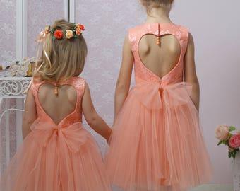 Tutu Dress, Tulle Dress, Flower Girl Dress, Lace Dress, Satin Dress, Peach Dress,Heart Cut Out Dress, Birthday Party Dress, Bridesmaid dress
