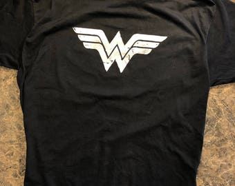 Wonder Woman Distressed One-Color Logo Tee