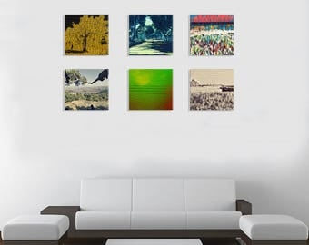 An abstract 6 pictures series prints  on a canvas for the living room