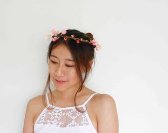 baby pink cherry blossom head wreath - [pink flower crown, japanese headpiece]
