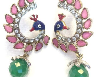 Enameled peacock with pink stones ,CZ with green dangling