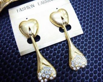 Fiber Street VINTAGE! classic 90s beautiful metal ART! amazing design gold tone vintage earrings / lovely & gorgeous! high sense!