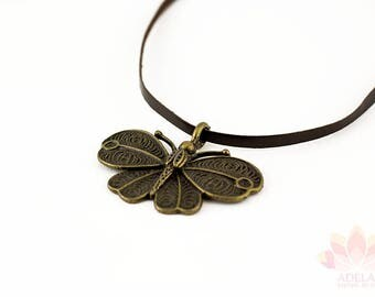 Copper butterfly pendant brown Leather