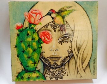 Original painting henna, cactus and humming bird in water color, pencil and ink