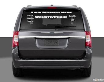 Business logo Decal/Info on vehicle window