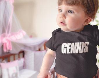 GENIUS   Funny Baby Onesie   Cute Kids Bodysuit   Multiple Colors