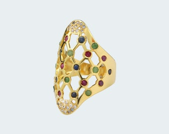 Ring leaked with Sapphire, Ruby and Emerald