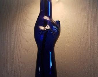 Blue Glass Cat Lamp