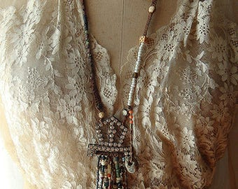 Assemblage Tribal Necklace Victorian Organic Rustic Gypsy Festival Bohemian Chic Talisman Amulet Free Falling by Cobwebpalace Tassel Fringe