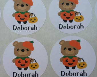 Personalized Pumpkin Bear Stickers for Back to School, Name labels, cards, etc set of 20
