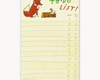 Notepad - Fox To Do Notepad, Recycled Paper Planner, paper notepad, inspirational her, mom inspiration, writing inspiration, daily checklist