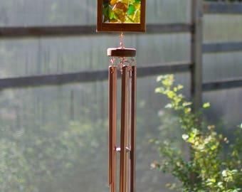 Wind Chime Kaleidoscope Warm Earth Colors Sea Glass Copper Cedar Windchimes