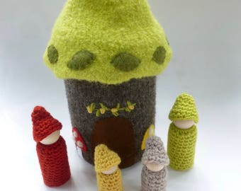 Tree house with gnome family felted wool house wood peg dolls  ready to ship