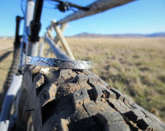 Mountain Bike Cycling Story Cuff - Sterling Silver