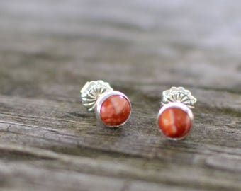 red spiny oyster and sterling silver small stud earrings