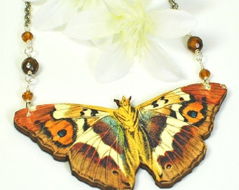 Butterfly Necklace - Purple Emperor Butterfly Pendant - Butterfly Jewelry - Nature Jewelry - Woodland Creature - Nature Lover Gift -Gardener