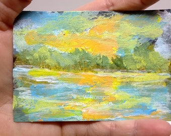Sunset Painting, Original Landscape Painting, Trees, Stream, River, ACEO, Small Painting, Winjimir, Art Collecting, Original Painting, ATC