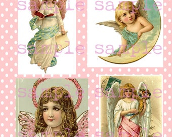 SALE Instant Digital Download, Victorian Christmas Angels Collage Sheet, Victorian Scrap, Vintage Antique Pink Shabby Chic