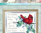 Inspirational Birds Cardinal Counted Cross Stitch Pattern