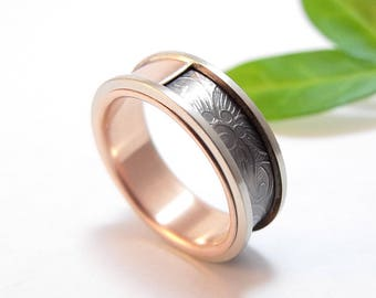 Mens Wedding Band For Him Titanium and Silver Ring with 14k Rose Gold Sunflower Wedding Ring For Her Womens Wedding Band Yellow Gold White