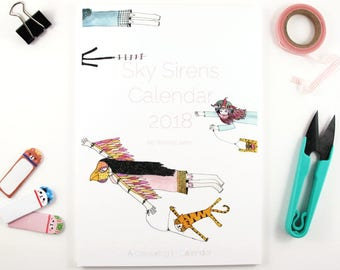 Colouring Calendar- Sky Sirens Calendar 2018 A5 calendar monthly planner