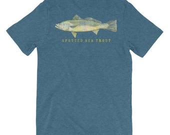 Spotted Sea Trout Unisex short sleeve t-shirt- Fish Gift- Fish Tshirt