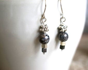 Sterling Silver Earrings, Gray Glass, Hematite