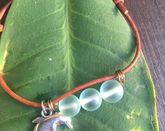 Bottlenose Dolphin Bracelet with Recycled Glass