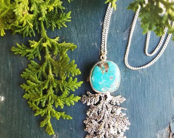 Turquoise Necklace, long sterling silver necklace, plant jewelry, long necklace, botanical jewelry, cypress nature