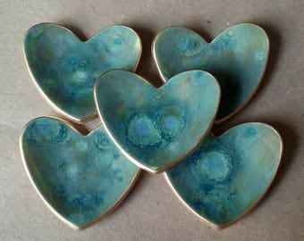 FIVE Bridal Shower favors ceramic hearts  ring bowls With Gold Edge  2  1/2 inches  itty bitty Moss Green