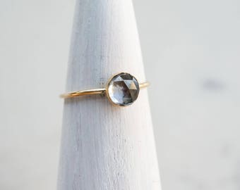 6mm faceted alexandrite ring. GOLD-FILL stacking gemstone ring. color changing violet blue green gem