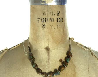 Vintage Turquoise Necklace / Handmade Short Strand of Raw Turquoise & Silver Beads / Native American Inspired