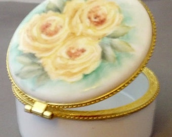 China Painted Yellow Cabbage Rose Hinged Ring Box
