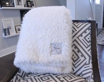 Faux Fur throw blanket personalized double sided llama fur gift cloud blanket rose denim ivory grey  gift plush photo prop tween teen