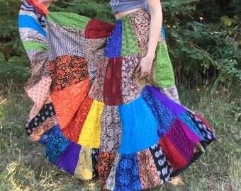 "Womens Skirt Long Patchwork Handmade Indian Fabrics 35""-41"" length for all sizes"