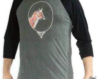 Fox Long Sleeve, Baseball Tee, Hand Screen Printed, Longsleeve