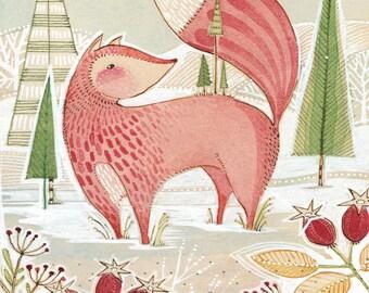 Whimsical fox - holiday - art- decor -  Archival Art Print-watercolor- woodland Art - wall decor - Nursery Room Decor - Baby Room -