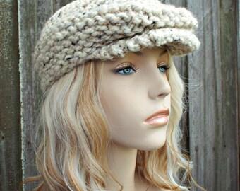 Knit Hat Oatmeal Newsboy Hat - Womens Newsboy Hat Mens Newsboy Hat - Tweed Hat Golf Cap
