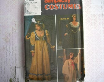 Simplicity 8192 Costume Dress with Bodice Renaissance Medieval Sewing Pattern UNCUT NIP Size 16 18 20