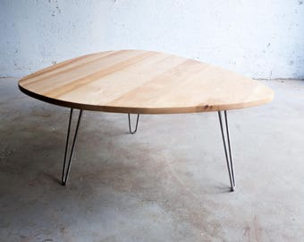 Modern Reclaimed Maple Wood Coffee Table with Stainless Steel Hairpin Legs