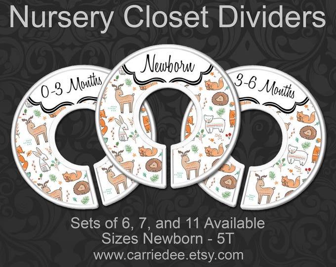 Woodland Animals Nursery Closet Dividers, Flora & Fauna Baby Closet Divider, Woodland Nursery, Deer, Fox, Hedgehog, Bunny