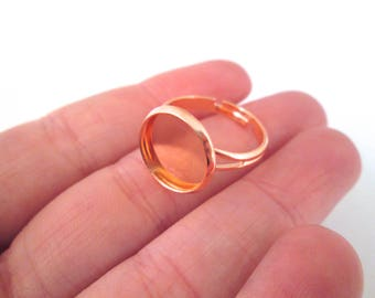 12mm Rose Gold Tone bezel ring blanks, pick your amount, A184