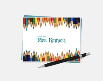 Personalized Note Cards, Teacher Gifts, Pencil, Personalized Stationery for Teachers, Teacher Supplies, Stationary, Folded Notecards