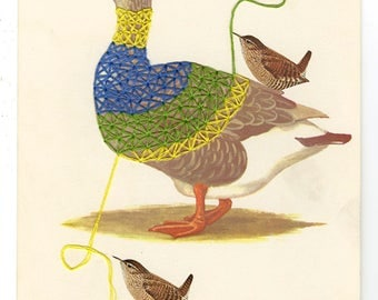 Wrens take a gander at dressing a goose. Original collage by Vivienne Strauss.