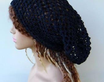 Hemp Slouchy beanie/dark blue pure Hemp Snood Tam Hippie Dreadlocks/Dread Slouch Beanie/navy hemp slouchy hat/open weave hemp hat, hairnet