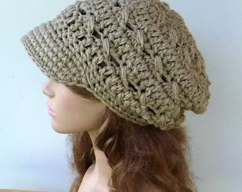 Newsboy hat, woman beige Visor City cap, Newsboy cap, slightly slouchy Beanie hat, billed visor hat, thick visor beanie