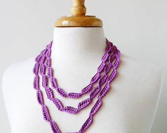 Multi Strand 100% Silk Textile Necklace in LILAC, Fiber Art Jewelry, Statement Necklace, Natural, Pastel, Gift for Her, Gift for Mom, Spring