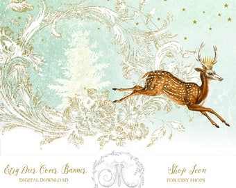 Christmas Deer Etsy shop cover banner and shop icon, instant download, blank, use for holidays, add text, vintage theme