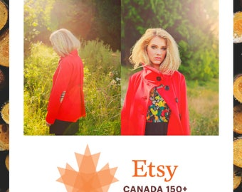 Little Red Jacket MEDIUM-LARGE sweatshirt, handmade, up-cycled, cozy, spring, asymmetrical high collar, one of a kind