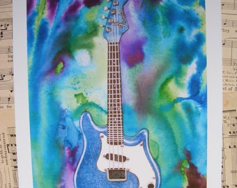 Fender Mandolin, Mandolin Watercolor, Fender Painting,Mandolin Painting,Blue Mandolin, Western Swing, Contemporary,Guitar Painting, Guy Gift